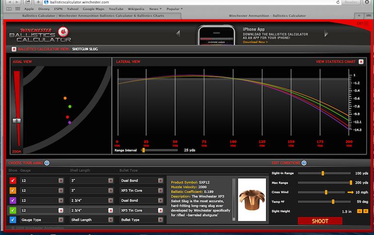 Try winchester s ballistics calculator winchester blog for 12 gauge slug ballistics table