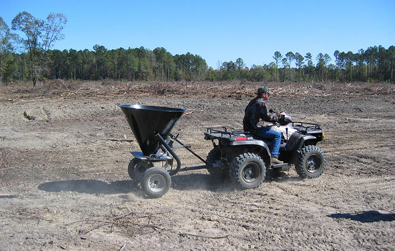ATV planting food plot