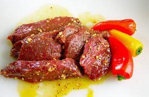 Elk steaks in marinade